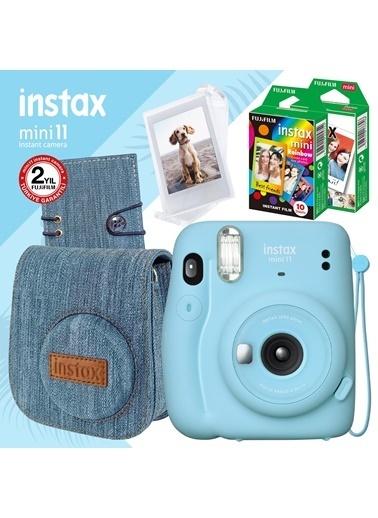Instax Instax Mini 11 Mavi Fotoğraf Makinesi Ve Jean Aksesuarlı Mega Hediye Seti Mavi